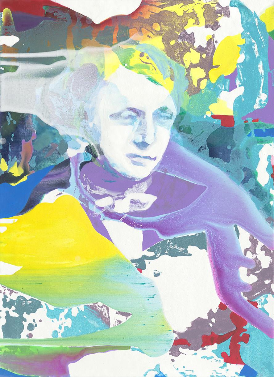 Lewis Carroll | Tusche, Acryl, Öl und Linoldruck auf Leinwand | 76 x 56 cm