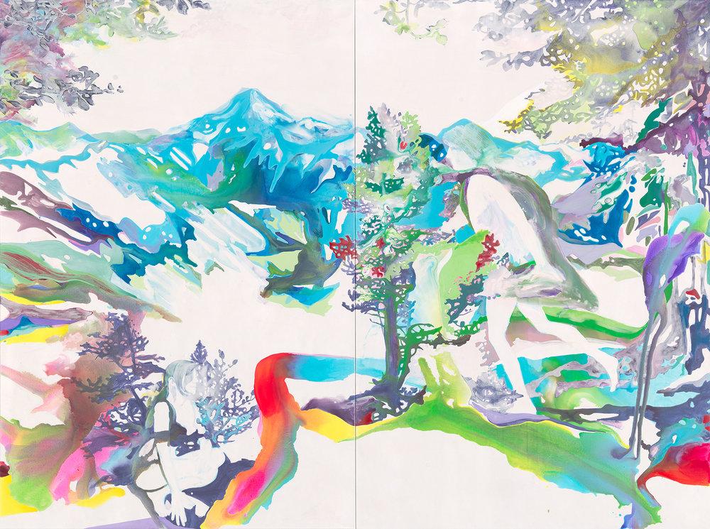 Der falsche Baum Apollo  |Aquarell, Tusche, Acryl und Öl auf Leinwand 300 x 400 cm Diptychon