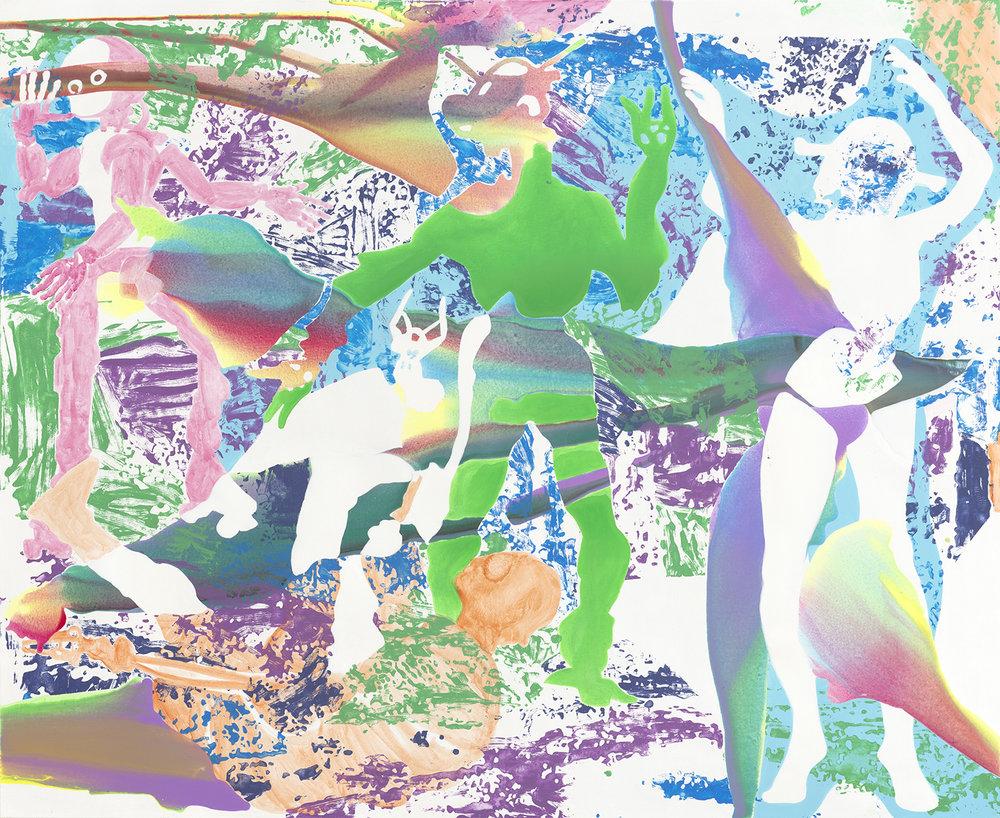 Wir sind die Roboter  | Aquarell, Tusche, Acryl und Linoldruck auf Leinwand | 180 x 220 cm