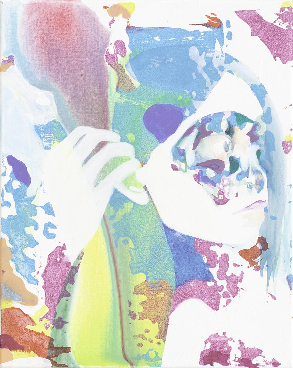 Chatterbot  | Aquarell, Tusche, Acryl und Linoldruck auf Leinwand | 50 x 40 cm