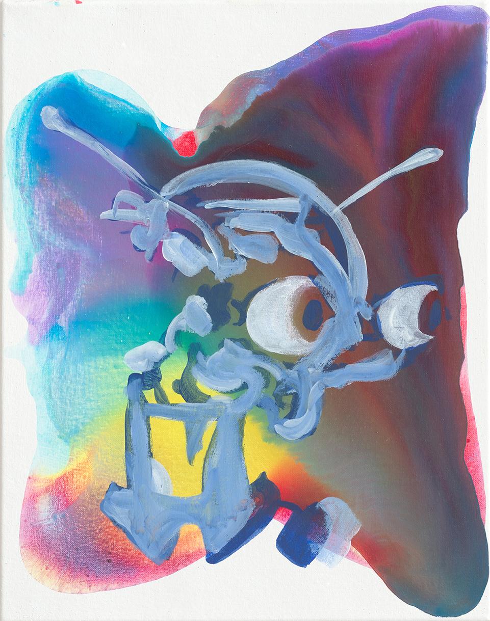 Empathor  | Aquarell, Tusche, Acryl und Linoldruck auf Leinwand | 50 x 40 cm
