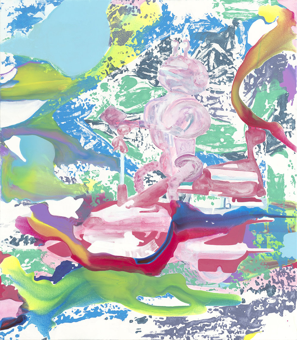 Hitchbot  | Aquarell, Tusche, Acryl und Linoldruck auf Leinwand | 160 x 140 cm