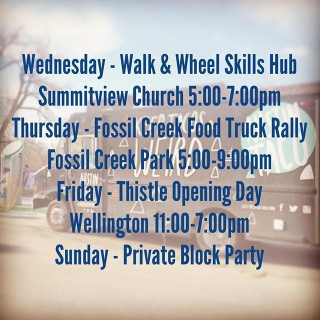 Hey Weirdos, our schedule for the week is complete. Join us at one of our events to get your favorite tacos. #tacos #focofoodtrucks