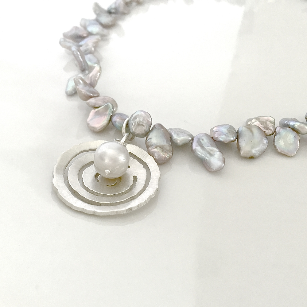 Silver Raindrop with Pearls