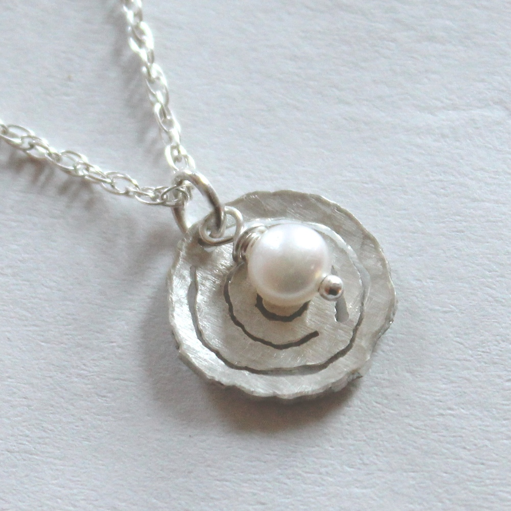Raindrop Pendant in Sterling Silver and Pearl