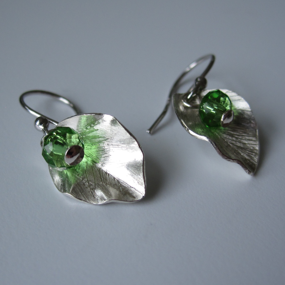 Little Leaves in Sterling with Crystal