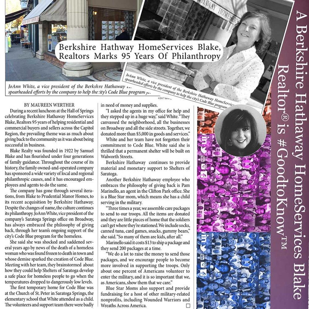"5.9.17 Saratoga Today Article ""Berkshire Hathaway HomeServices Blake, Realtors Celebrates 95 Years of Philanthropy."