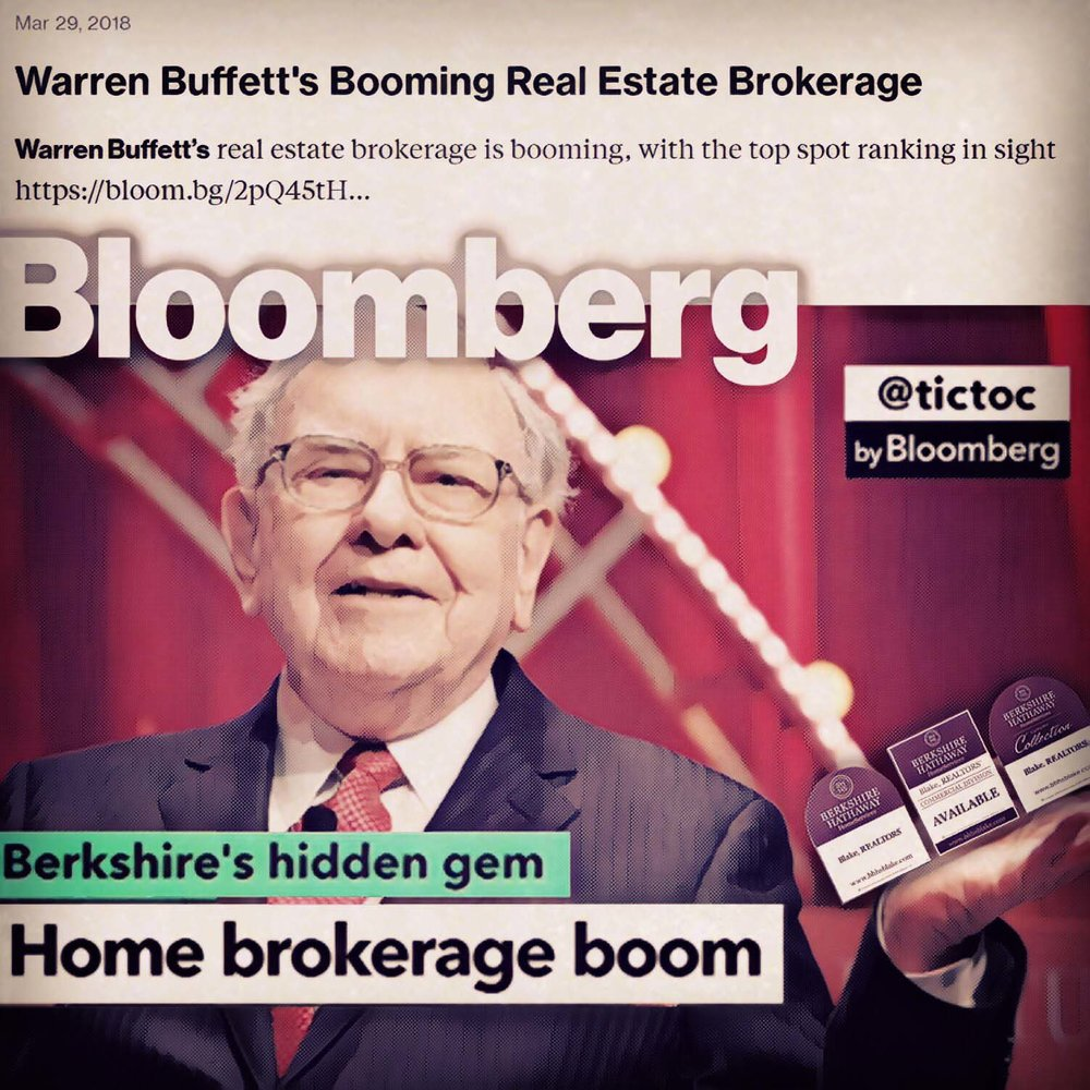 Warren Buffett is now America's #2 Real Estate Broker. From Bloomberg News 3/30/17  Full article here .