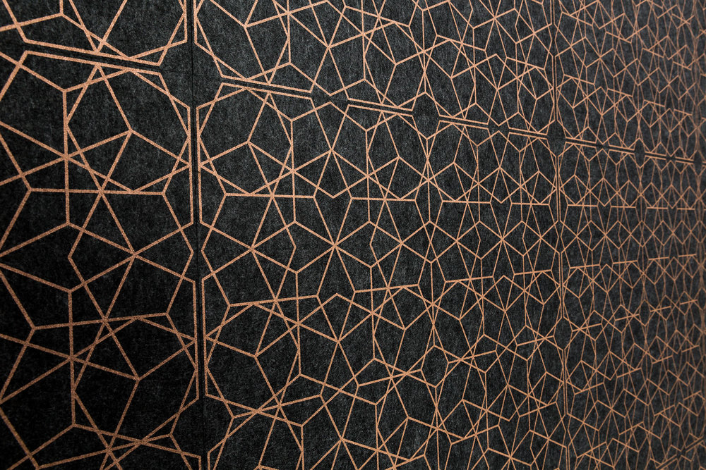 Kalaidescope - metallic printed acoustic tiles