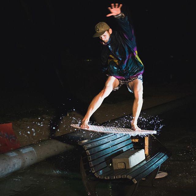Night moves at the skim party. With @semjon_szil photo by: @leo_vngm 🍻 : : : : #Kayotics #kayoticsskimboards #skimboardsandlifestyles #flatlandskimboarding  #flatlandskimboarding #skimboarding #beaches #skimontario #flatlandskim #skimming #skimstagram #skimusa #skim #beachcred  #skimboardinglife #skimboardcanada