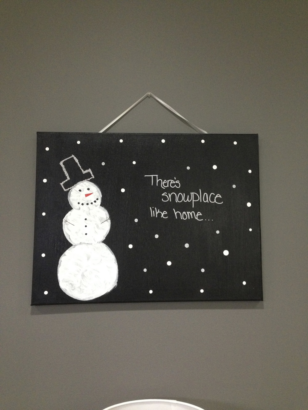 stunning Cute Christmas Canvas Paintings Part - 16: For the second canvas I again started out with a plain white one. I then  painted it red. Once it dried I drew on Santau0027s belt, and then used a  silver ...