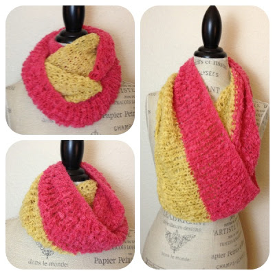 Duo Cowl Free Pattern in Maize and Carnation