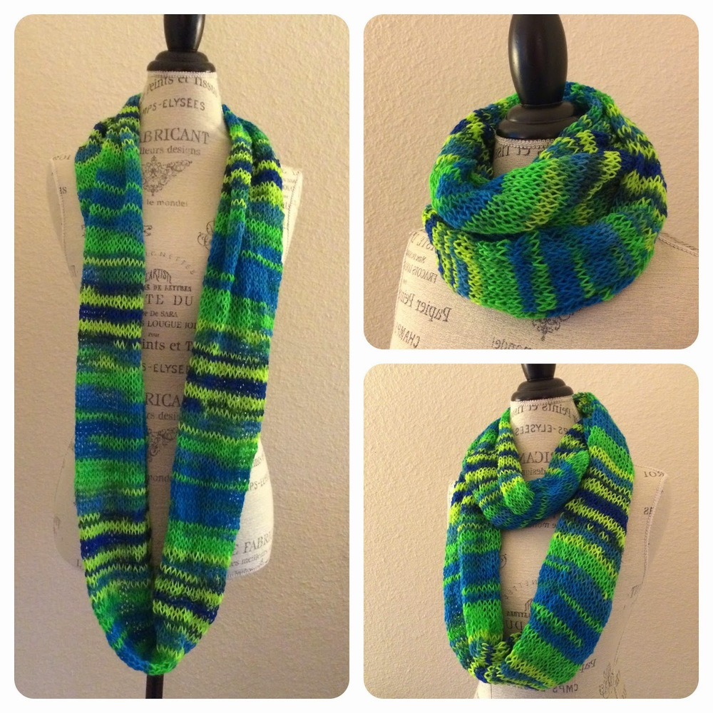 Knitted Scarf Pattern With Sock Yarn : Neon Infinity Tube Scarf Free Knitting Pattern   Blog.NobleKnits