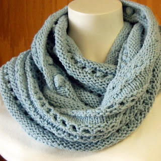 833d52b6923ef9 An example of Eyelet Lace - New Street Knitter s Bobble and Eyelet Infinity  Scarf Knitting Pattern