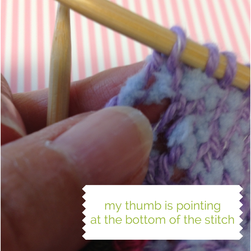 My thumb is pointing at the bottom of the stitch