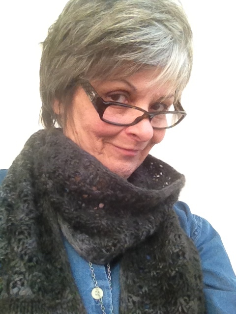 Donna Pelzar, aka the Knitting Doctor, sporting my completed Balmoral Scarf
