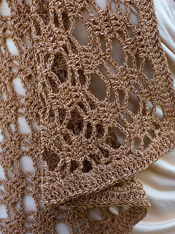 Berne Vest Crochet Pattern, closeup view