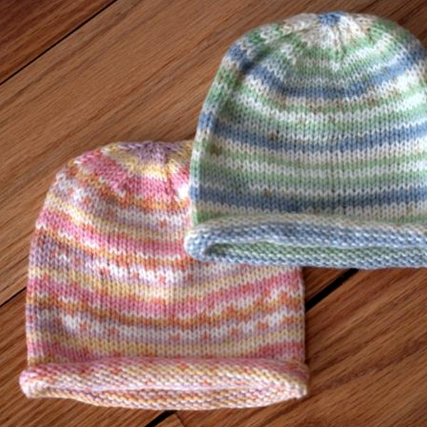 Baby Hats Free Knitting Patterns : Easy Paintpot Baby Hat Free Knitting Pattern   Blog.NobleKnits