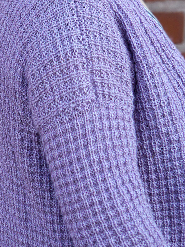 Waffle Stitch Pattern on Ametrine Cardigan