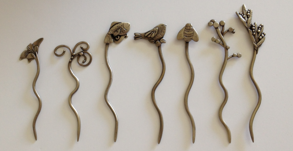 Bonnie Bishoff hand crafted shawl sticks - smoothly finished and wonderfully detailed.