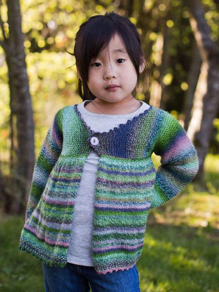 Free Knitting Pattern: Girls Swing Jacket (shown in color 2170)