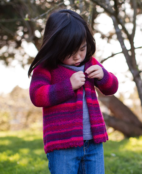 Girls Swing Jacket Free Knitting Pattern (shown in color 2095)