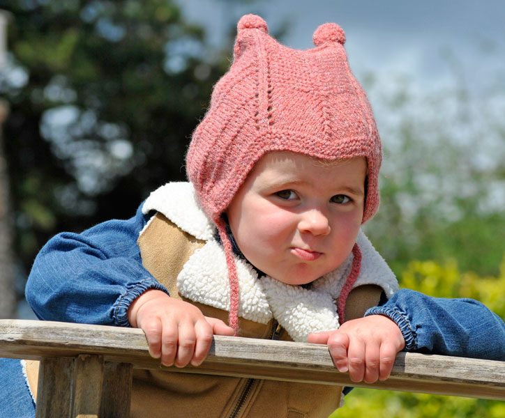 Toddler's Pompom Peruvian Hat Free Knitting Pattern