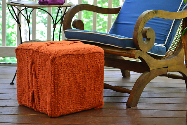 Footstool Cube Cover Free Knitting Pattern
