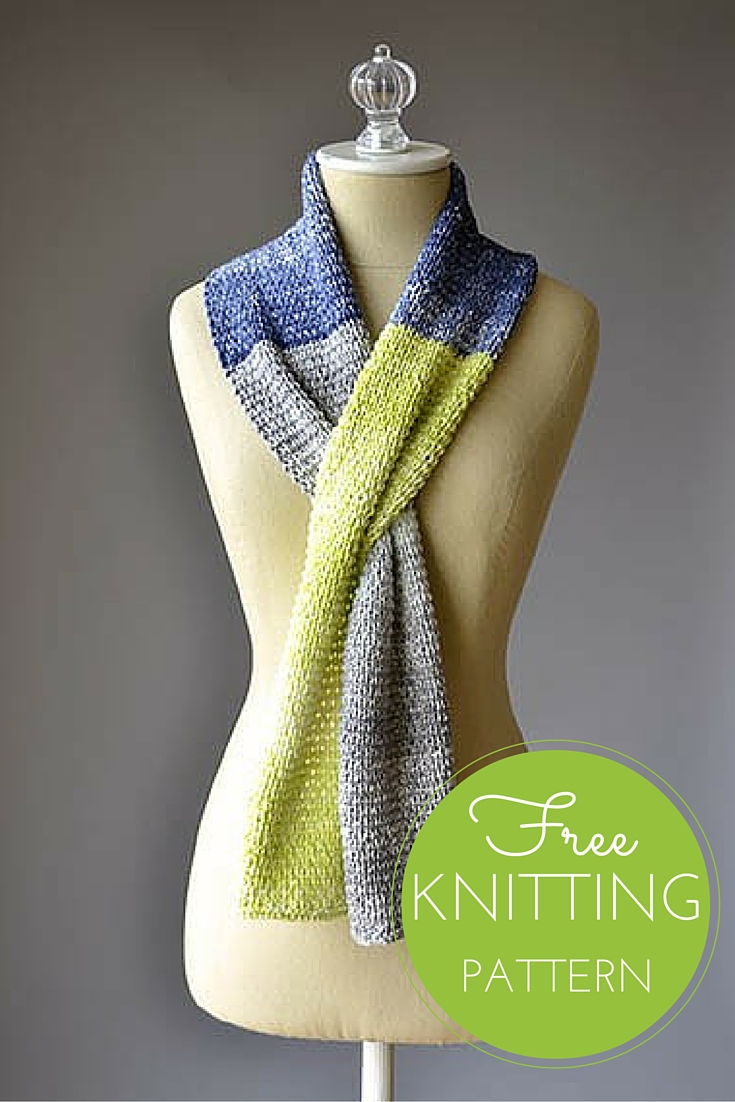Color Block Scarf Free Knitting Pattern