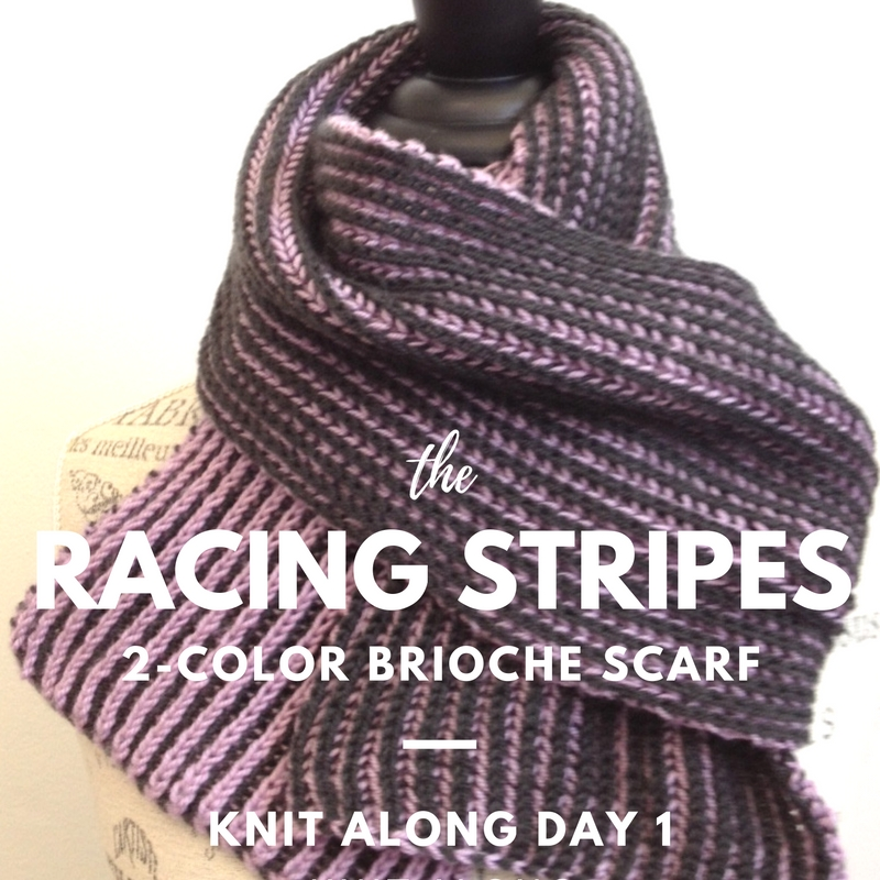 Racing Stripes 2-Color Brioche Scarf KnitAlong
