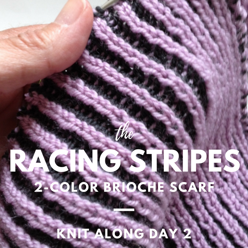 Racing Stripes 2-Color Brioche Scarf Knit Along - Day 2