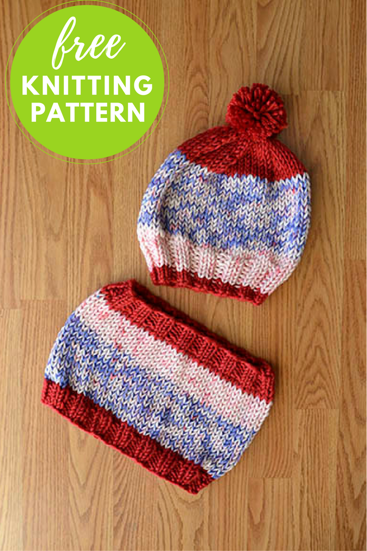 USA Hat and Cowl Free Knitting Pattern — Blog.NobleKnits