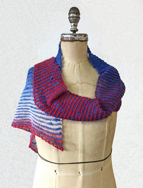 Amherst Triangle Scarf Free Pattern in Red/White/Blue