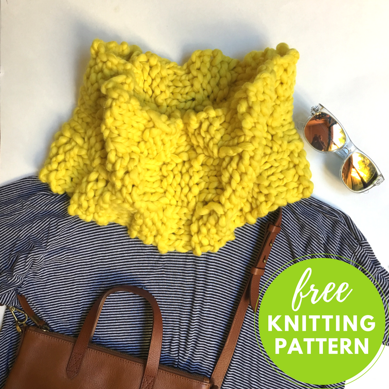 One hour project! Sunshine Cowl Free Knitting Pattern