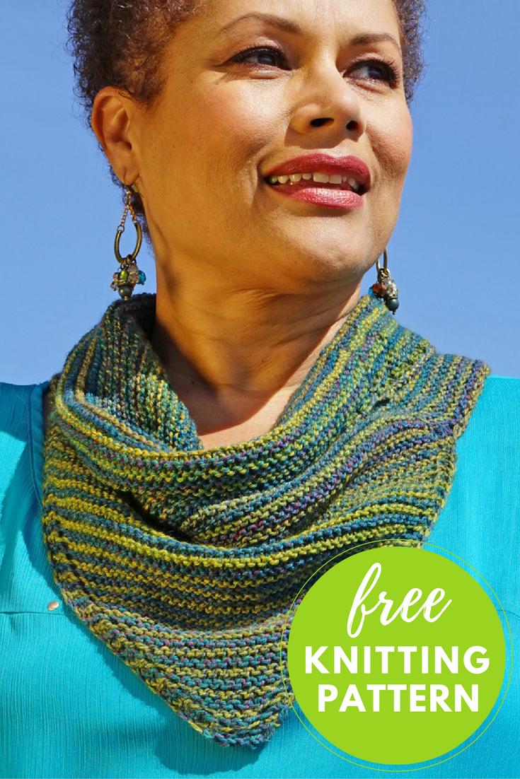 Striped Cowl Kerchief Free Knitting Pattern