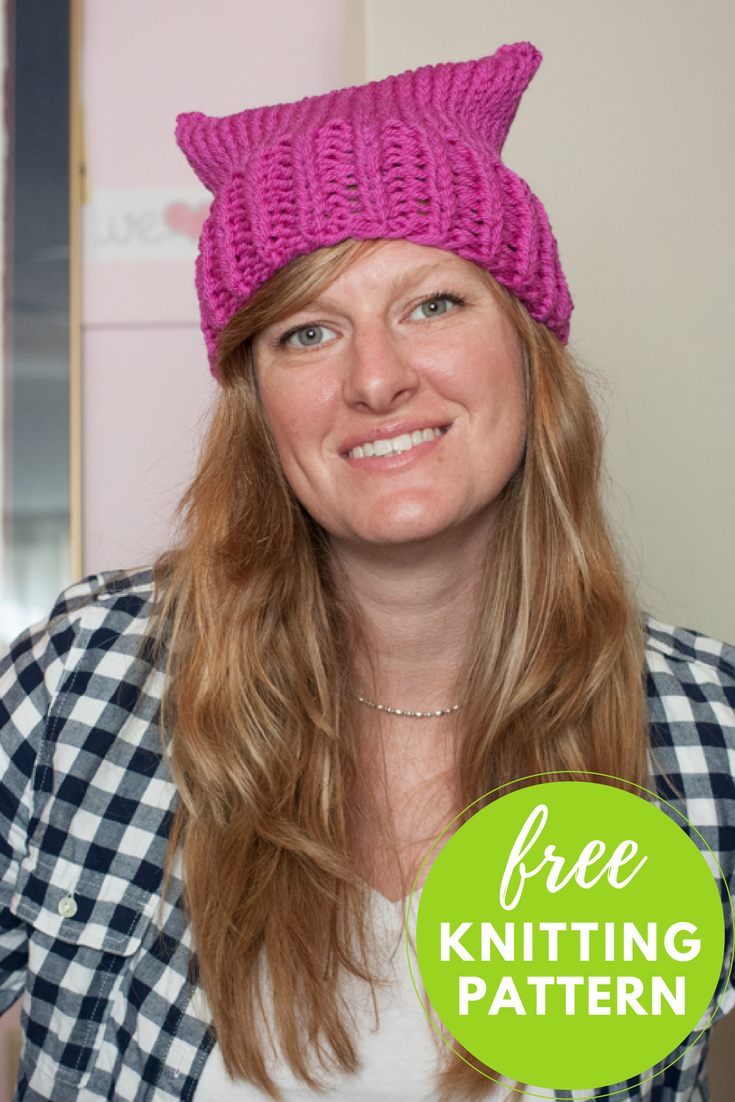 Pussy Hat Free Knitting Pattern - 1 skein, 2 hour beginner project!