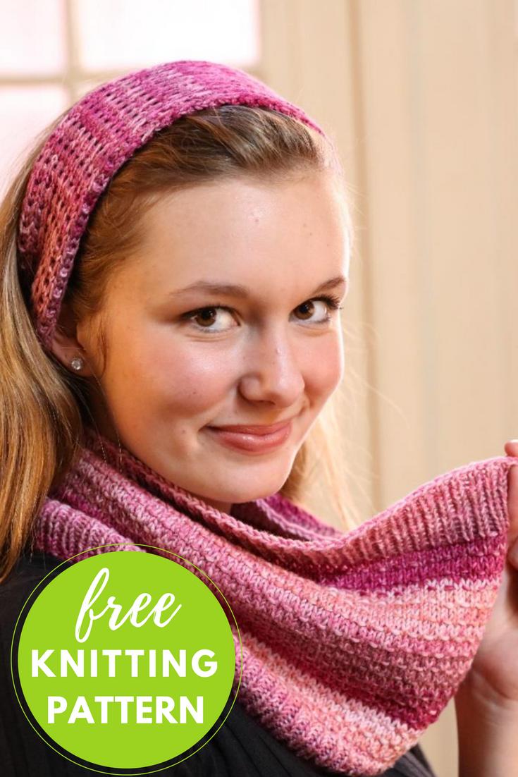 Calico Cowl & Headband Free Knitting Pattern