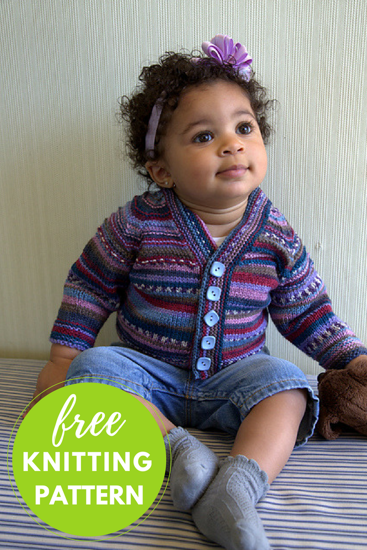 10006e1a3946 Sweet Stripes Cardigan Free Knitting Pattern — Blog.NobleKnits