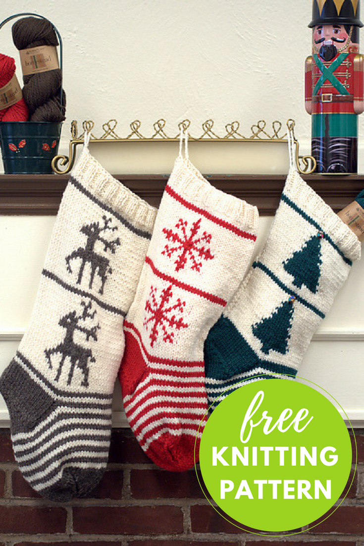 christmas stocking trio free knitting pattern blog nobleknits