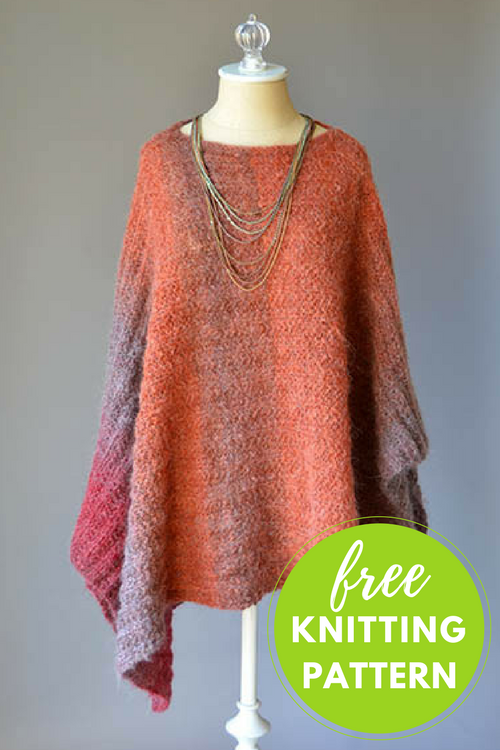 Banked Coals Poncho Free Knitting Pattern