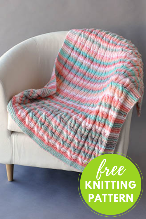 Reversible Cable Blanket in Two Sizes - Free Knitting Pattern