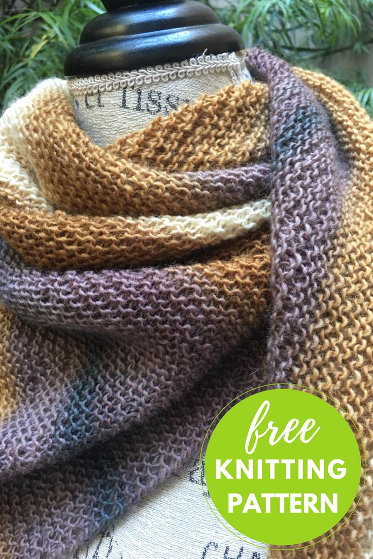 One skein asymmetrical shawl free knitting pattern