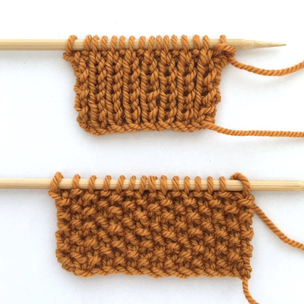 Knit 1 Purl 1 - Creates the Rib Stitch and the Seed Stitch