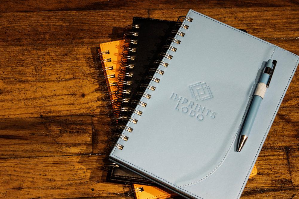 Debossed custom notebooks -