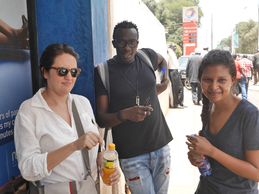 Tosh, Mehera and Emma stay hydrated while exploring the use cases for satellite technology in Kenya.
