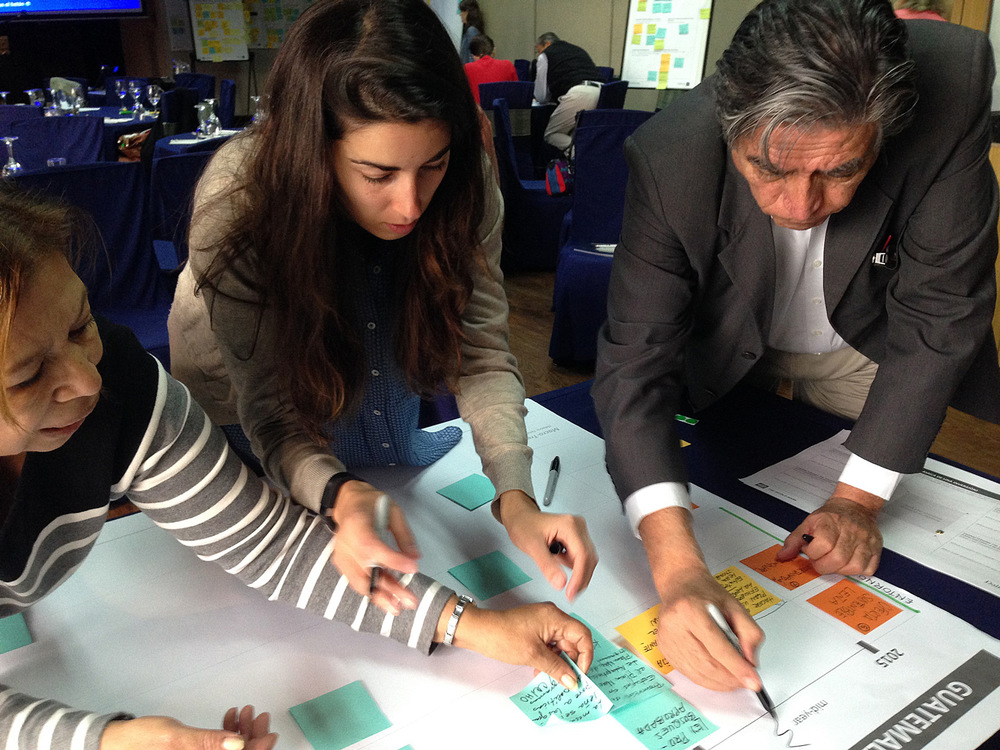 Mariola keeps participants on track while they create a strategic road map at a workshop in Guatemala.