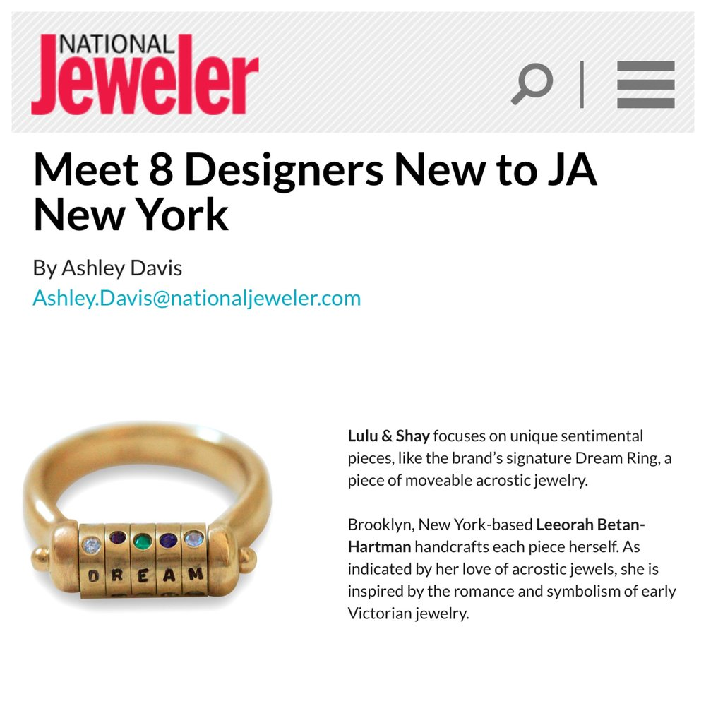 HI Everyone!   Happy almost Spring! So excited to announce that Lulu & Shay is one of the 8 designers in the JA New Designer Gallery show curated by Liz Katner this March 11th-13th.   We are at booth 1047, the show is only open to the trade but please do come see us if you can!