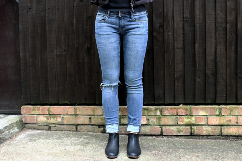 two Outfit: Tweed and Ripped Denim