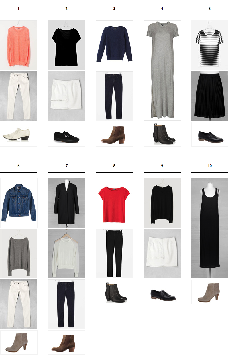 Building a 25-piece Capsule Wardrobe: 10 Sample Outfits