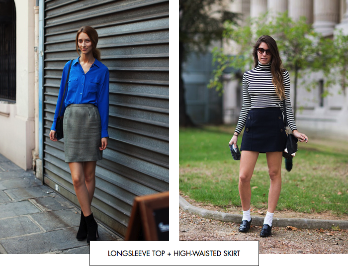 Longsleeve top + high-waisted skirt